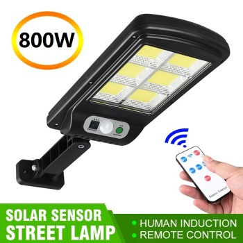 128 COB Solar Street Lights Outdoor Security Light Wall Lamp Waterproof PIR Motion Sensor Smart Remote Control Lamp 500-1000W