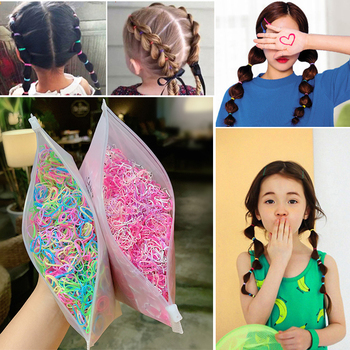 1000 unids/bolsa, accesorios para el cabello, bandas de goma elásticas desechables para niñas, coleta de goma para niñas, diadema de joyas para el cabello para mujeres
