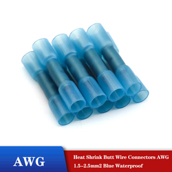 20/30/50Pcs Heat Shrink Butt Wire Connectors AWG 16-14 1.5-2.5mm2 Blue Waterproof Insulated Automobile Wire Cable Terminals