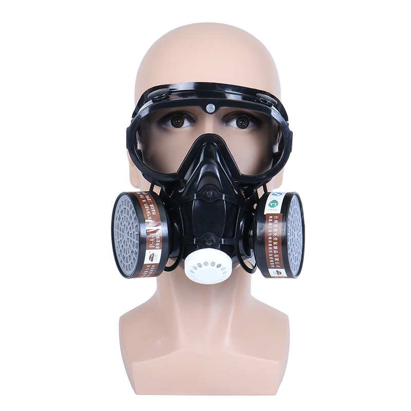 Safurance Respirator Gas Mask Safety Chemical Anti-Dust Filter Military Eye Goggle Set Workplace Safety Protection
