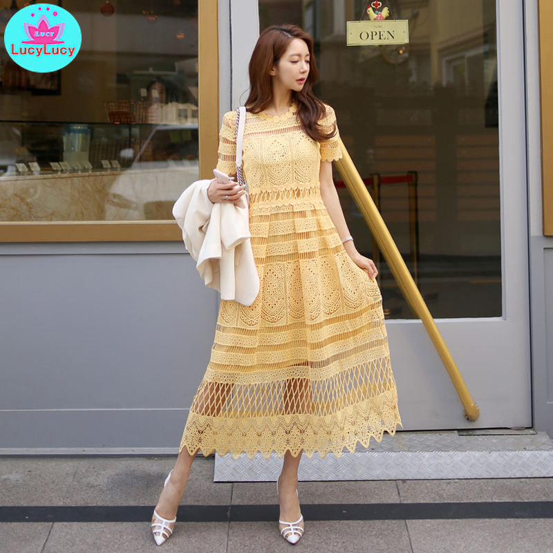 2019 summer new Korean temperament lace collar waist openwork lace big swing long holiday dress female Solid Mesh