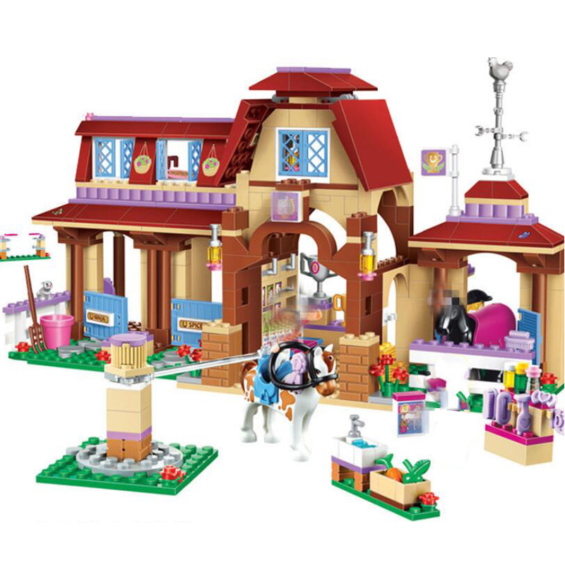 594pcs Friends For Girl Heartlake Riding Club Horse Stables Block Set Mia Stephanie Building Toy Compatible with 41126
