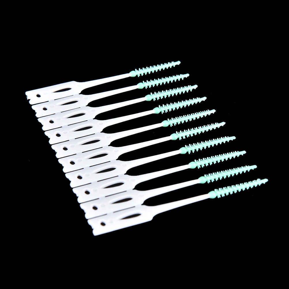 40 pièces/paquet Silicone souple jetable dents bâton cure-dents fil dentaire cure-dents soins bucco-dentaires brosse interdentaire