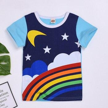 De moda de las niñas de los niños ropa de algodón ropa de футболка cuello bebé niño niños Arco Iris Luna sol impreso camiseta Tops ropa H4