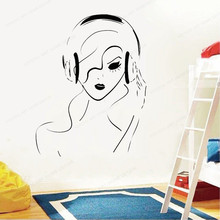 Girl Headphones Vinyl Wall Decal Musical wall sticker girls room wall decor home decoration JH409 day of the dead girl skull head vinyl wall decal sticker