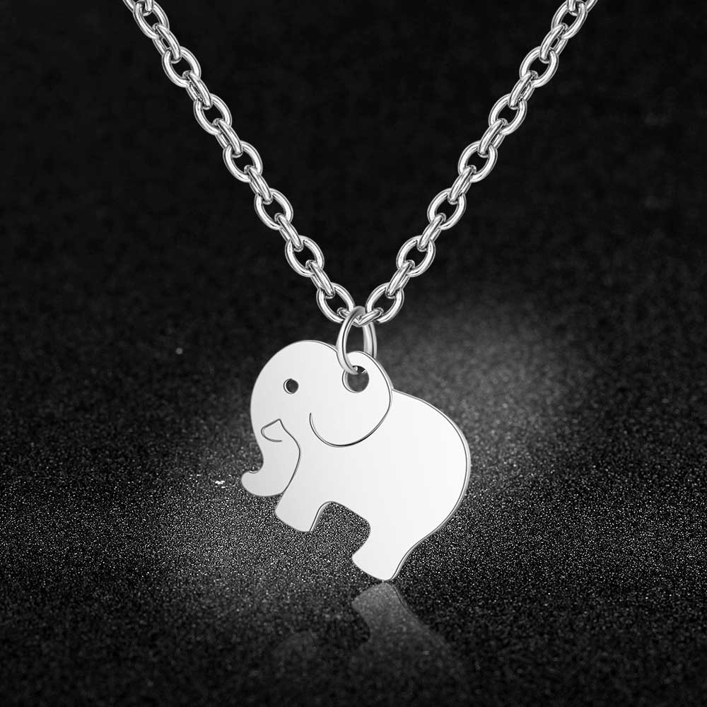 Stainless Steel Baby Elephant Charm Necklace Vnistar Simple Lucky Elephants Pendant Necklaces