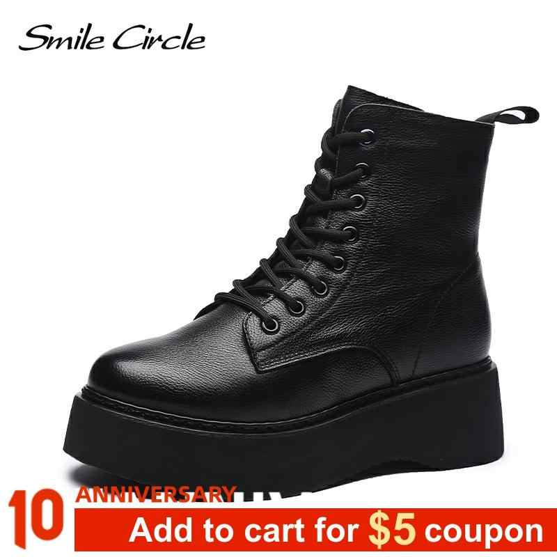 Women Boots Genuine Leather Ankle Boots flat Platform Boots Fashion zipper Thick bottom Black Ladies Shoes