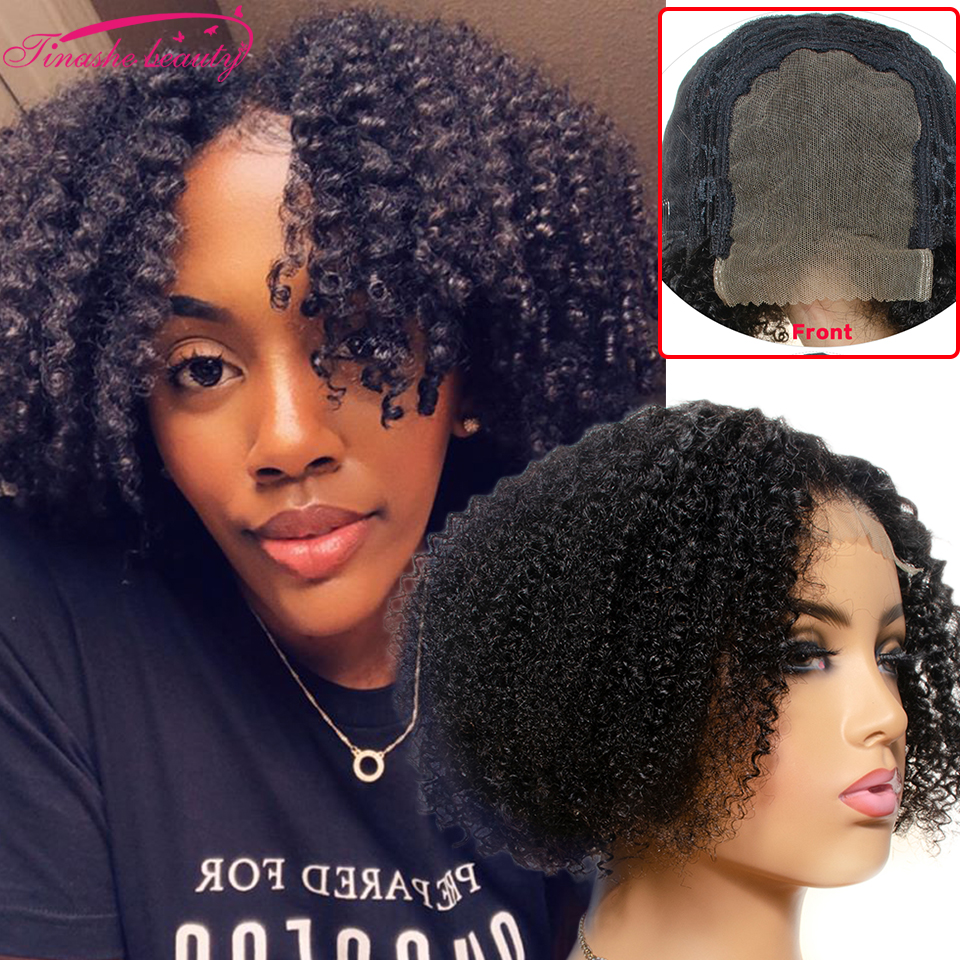Afro Kinky Curly Wig 4x4 Lace Closure Curly Wave Pixie Short Bob Wigs 100% Human Hair Short Cut Wigs Tinashe Beauty Hair