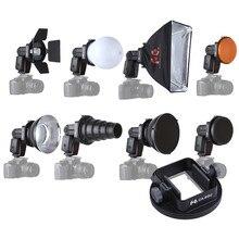 9PCS K9 Flash Speedlite Accessoires kit Conische Snoot + Reflector + Diffuser + Honing Kam + Softbox + gels + Barndoor + Mount