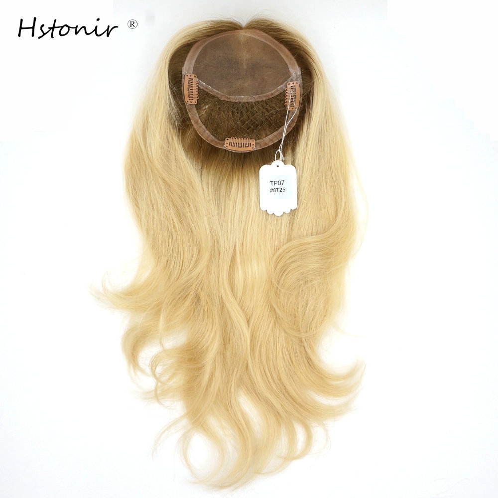 Hstonir Frauen European Remy Hair Self Haarteil Handtied Magic Closure Blond Top Stück Clip Sense Crown Toupee Secret Small Base