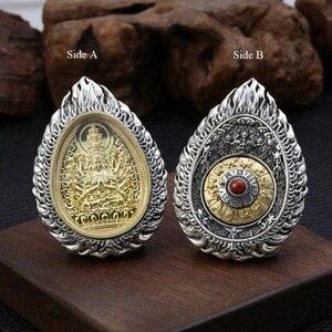 Image 5 - Büyük 925 gümüş sekiz buda heykeli kolye 925 ayar budist buda muska kolye 12 hayvanlar iyi şanslar kolye