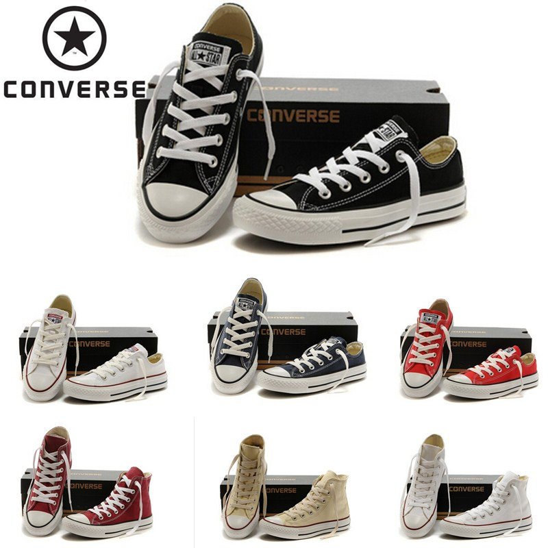 Original Converse All Star Chuck Taylor Shoes For Men And Women Low And High Top Lover's Canvas Shoes Beige Red Black White Blue