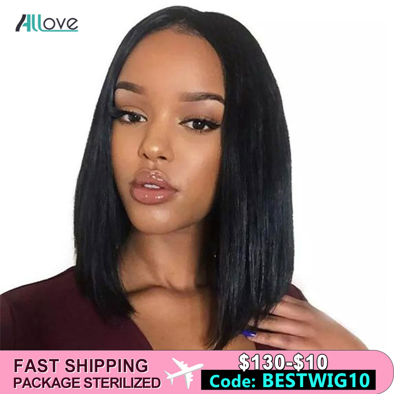 Allove Short Lace Front Human Hair Wigs Bob Wig For Black Women Brazilian Remy Straight Bob Lace Front Wigs 180% Density