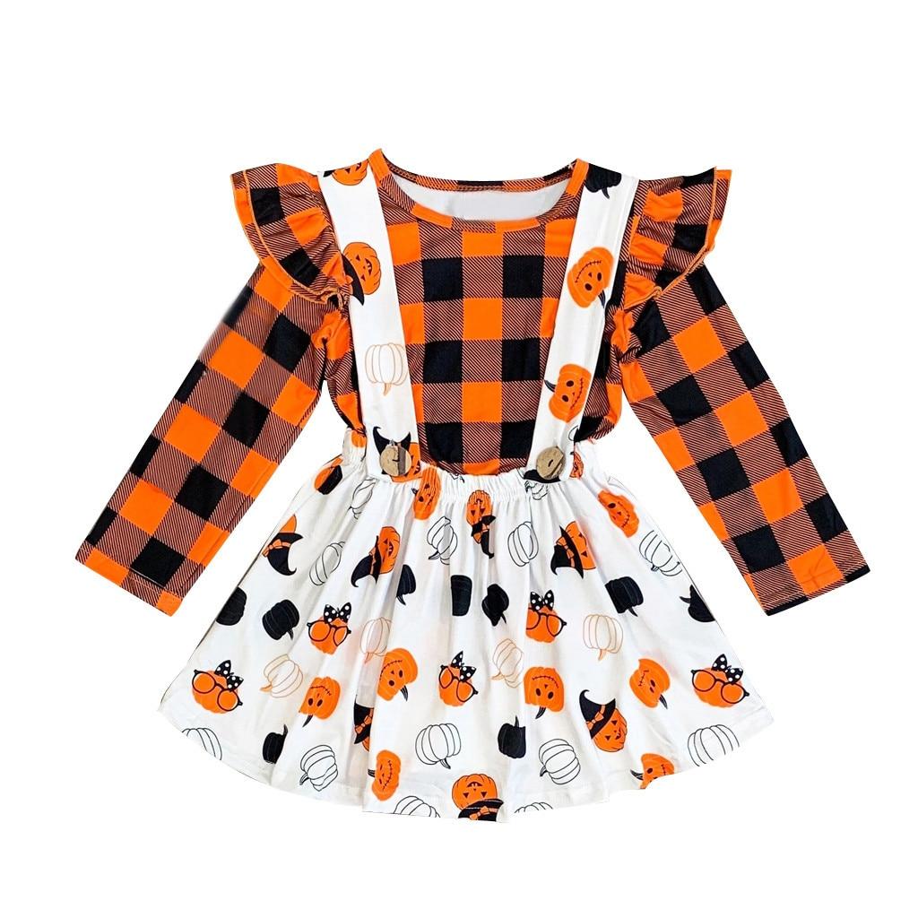 Kids Clothes Set 2PCS Girls Halloween Pumpkin Plaid T Shirt Outfit Overall Skirt Toddler Winter Newborn Baby Korean Fashion 19Jl