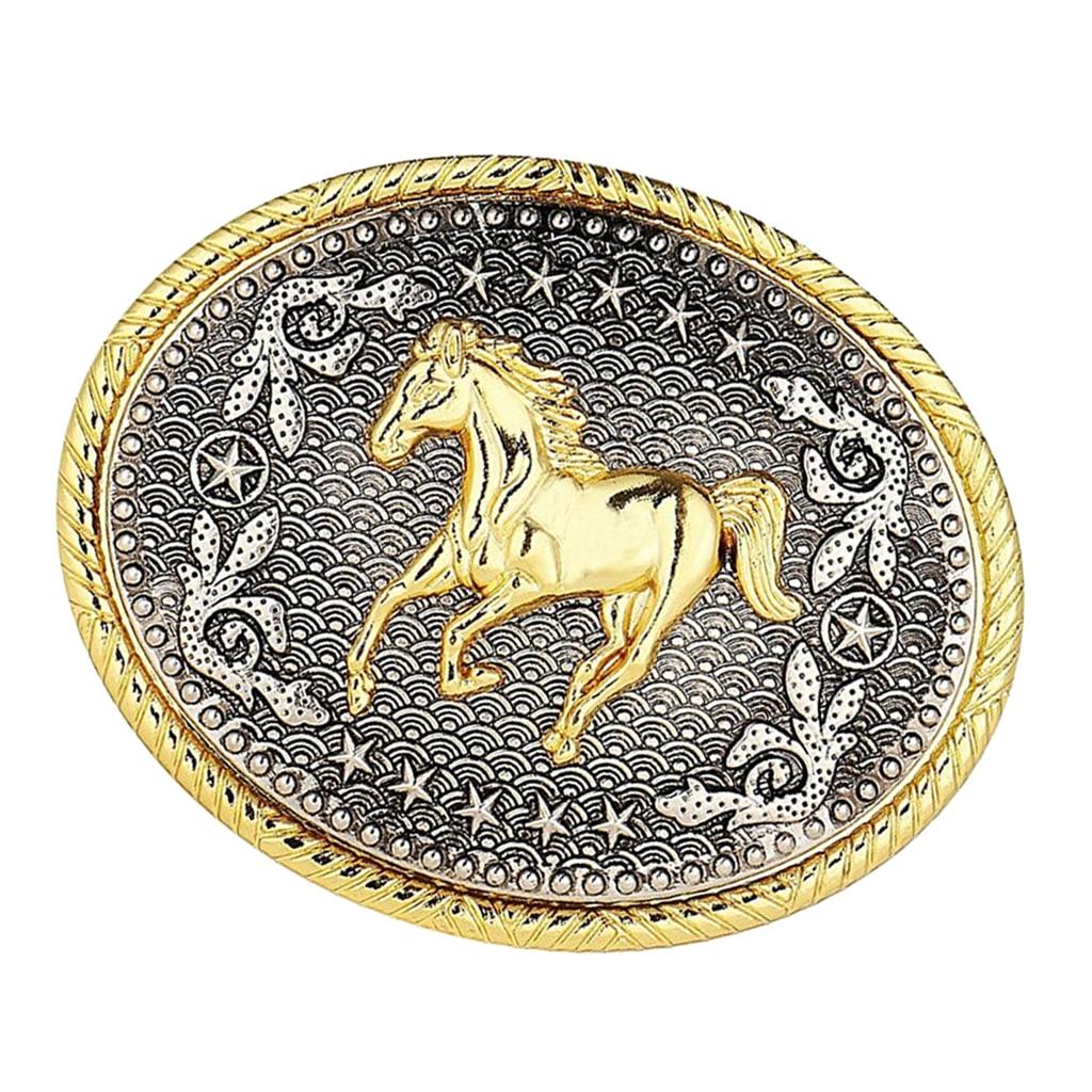 Running Horse 3D Belt Buckle Cowboy Bohemia Style Belt Buckle Horses Pattern Belt Antiq Gold Colored  Fit For 3.6-3.9cm Belt