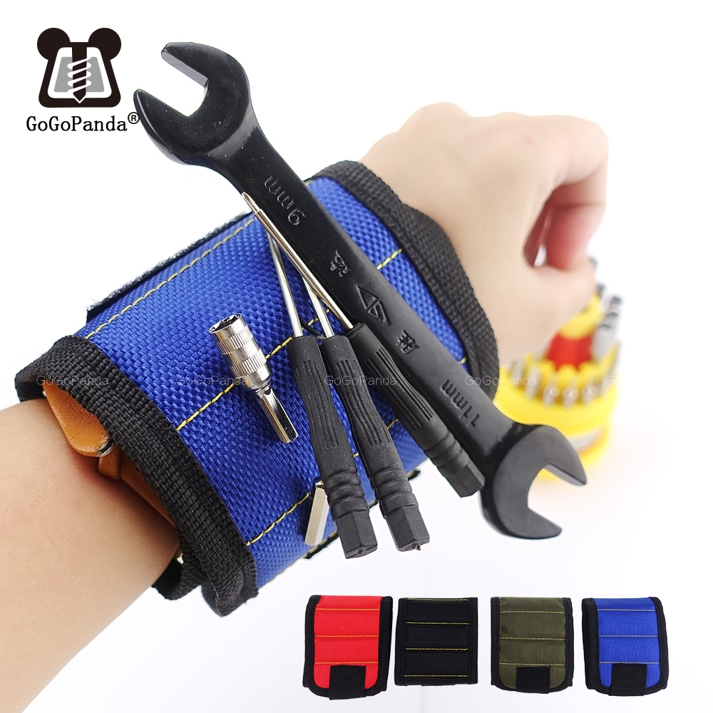 Free Shipping Magnetic Wristband Portable Tool Bag Electrician Wrist Tool Belt Screws Nails Drill Bits Holder Repair Tools