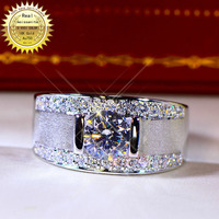 18K goldr ring 1ct D VVS moissanite men ring Engagement&Wedding Jewellery with certificate 001