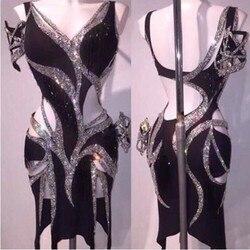 Sparkly Silber Strass Latin Kleid Sexy Schwarz Dance Kleid Steine Sängerin Geburtstag Party Bühne Zeigen Kleider