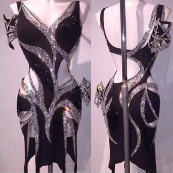 Sparkly Silver Rhinestones Latin Dress Sexy Black Dance Dress Stones Female Singer Birthday Party Stage Show Dresses