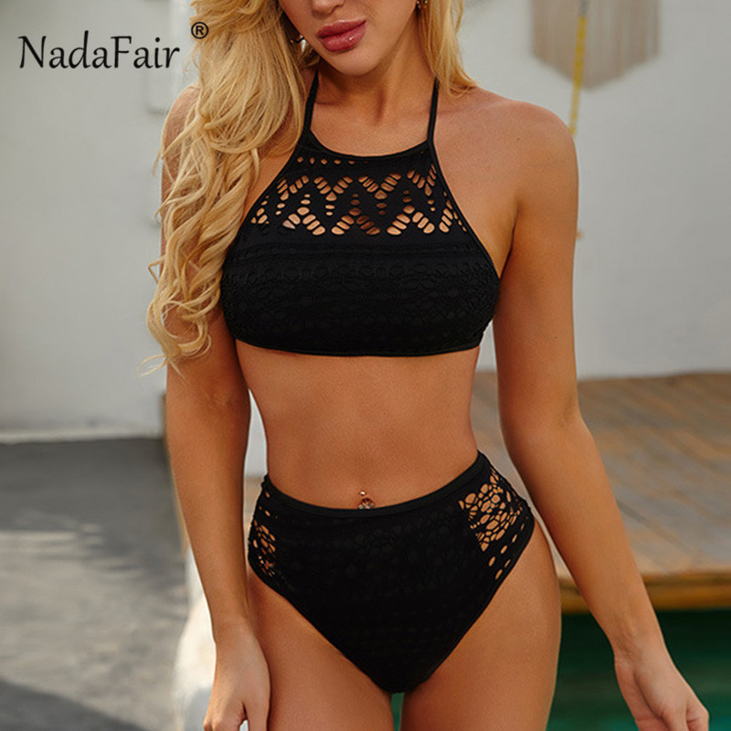 Nadafair Sexy Crochet Swimwear Women Hollow Out High Waist Bikini Backless Halter Bathing Suit Women Summer 2020 Biquini Set