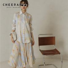 CHEERART – chemise à manches longues pour femmes, teinture par nouage, haut et chemisier imprimé à boutons, haut haut et bas, chemise de créateur, vêtements d'automne 2020