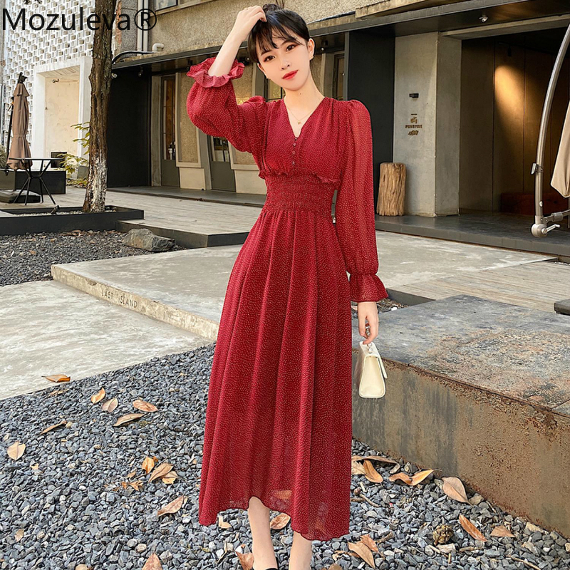 Mozuleva 2020 Spring Women Lace Trims Patchwork Ruffles Chiffon Dress Boho Long Lantern Dress Retro Holiday Long Dress Plus Size