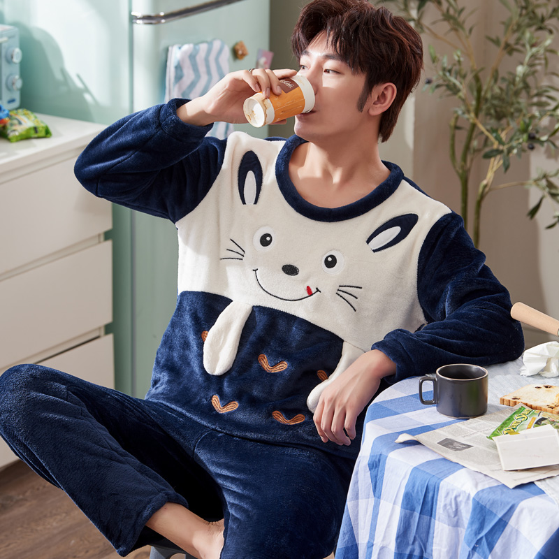 2019 Men's Pajamas Set Autumn Winter Coral Fleece Warm Thicken Flannel Warm Pajamas Men's Long Sleeve Nightwear Top Pant Flannel
