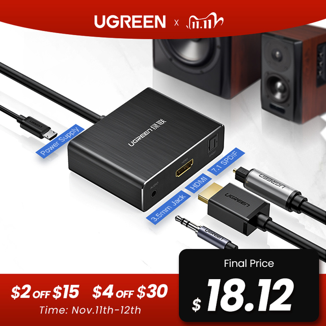 Ugreen HDMI Audio Extractor SPDIF Optical Toslink Audio Extractor Konverter HDMI Audio Splitter 3,5mm Jack Adapter Schalter HDMI