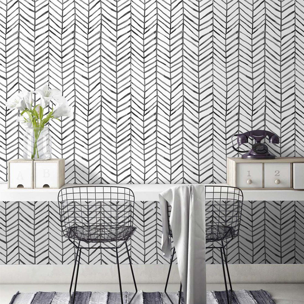 Modern Stripe Peel And Stick Wallpaper Herringbone Black White Vinyl Self Adhesive Contact Paper For Kidroom Bedroom Home Decor 4