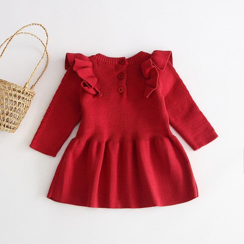 H46821063cc48484a8da38693a60f2454a Girls Knitted Dress 2019 autumn winter Clothes Lattice Kids Toddler baby dress for girl princess Cotton warm Christmas Dresses
