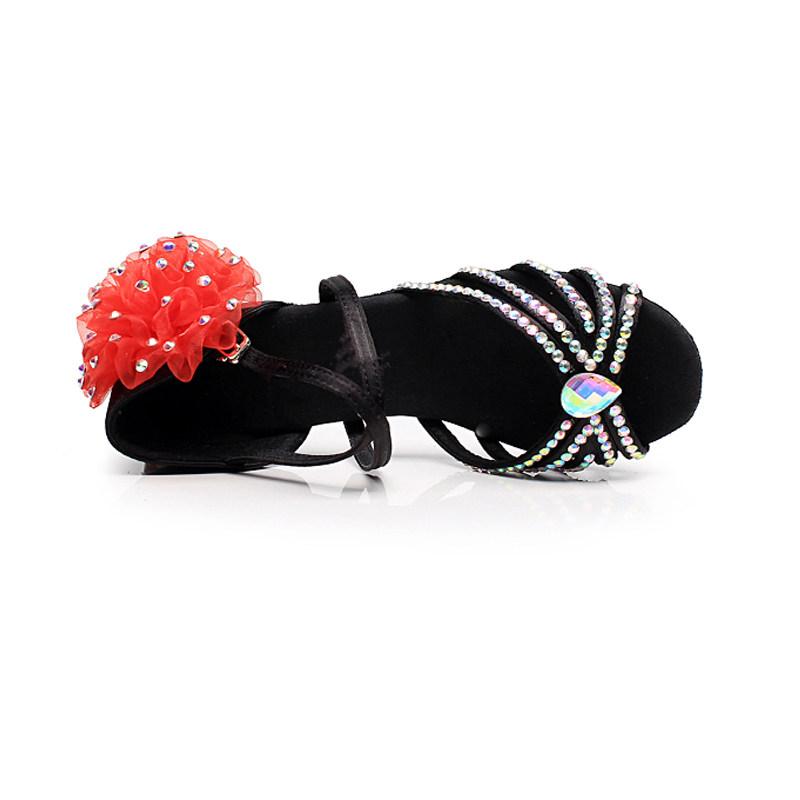 Summer Children\'s Diamonds Latin Girls Practice Shoes Professional Soft Bottom Ballroom Latin Competition Dance Shoes