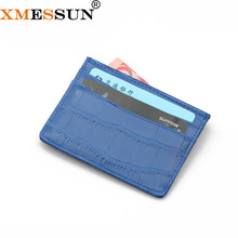 Profession Custom Logo Personalize Leather Slim Blue Crocodile Leather ID Business Credit Card Holder Wallet(China)