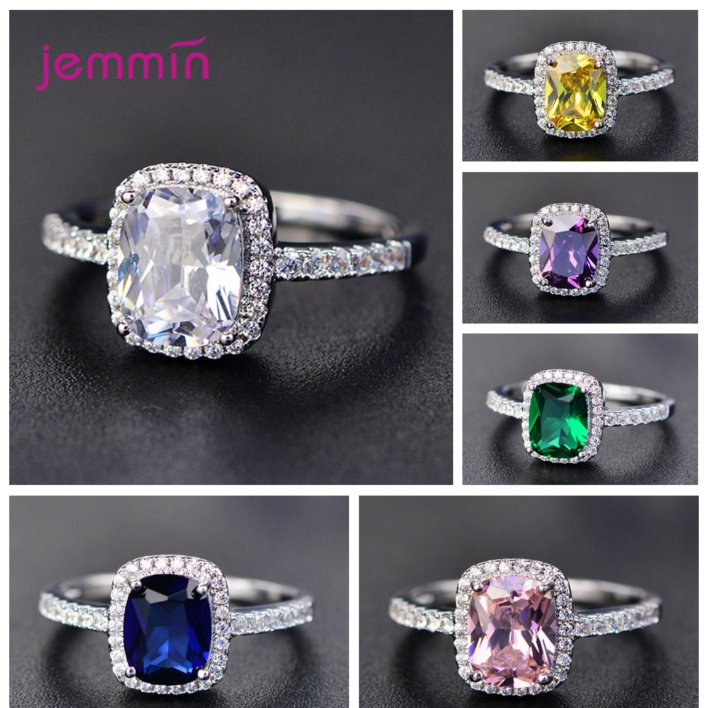 Simple Geometric Paved Micro AAA Cubic Zircon Charm Rings For Women 925 Sterling Silver Jewelry Gift Trendy Luxury Female Ring