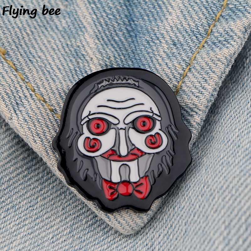 Flyingbee Billy Boneka Horor Pin Logam Bros Pin Wanita dan Pria Enamel Pin Lencana Kerah Pin Lencana pakaian X0509