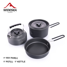 Cookware-Set Tourist-Kettle Widesea Utensils Frying-Pan Hike of 3pcs