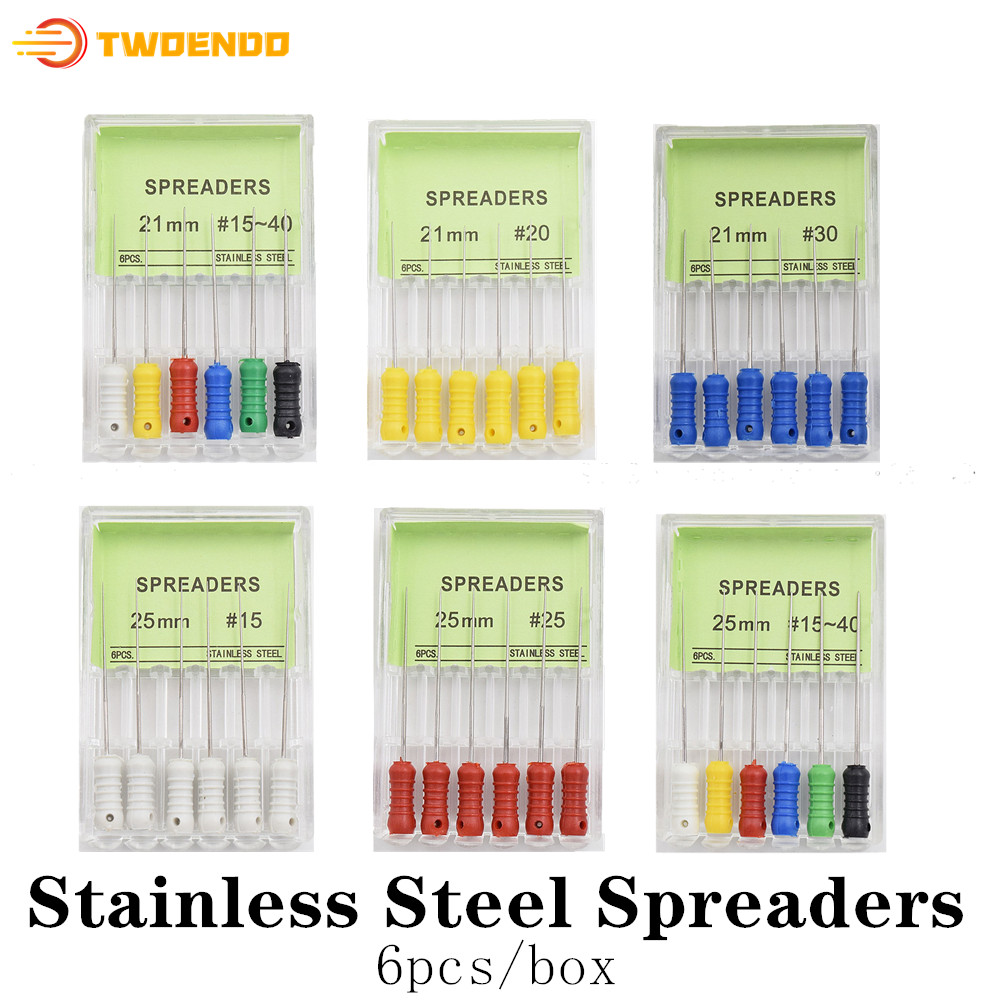 Эндодонтические расширители для корневых каналов, 10 коробок, нержавеющая сталь, 21 мм, 25 мм, 6 шт.