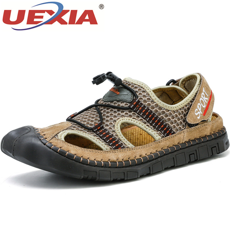UEXIA Soft Bottom Handmade Hollow Fashion Outdoor Sandals Sport High Quality Men Beach Shoes Wearable Casual Sandalias Footwear