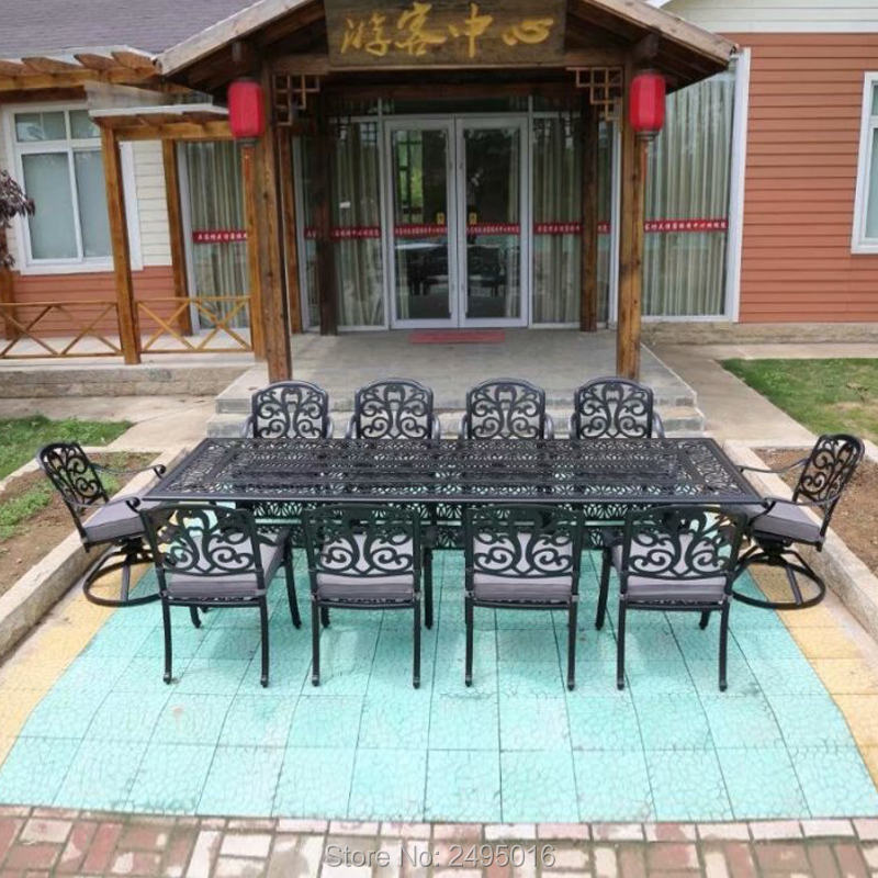 11-piece Cast Aluminum Patio Furniture Dining Set Outdoor Chairs And Table All-weather Anti-rust  In Brozon Color