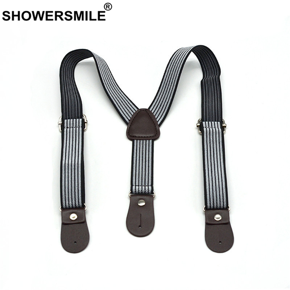 SHOWERSMILE Kids Suspenders For Baby Boy Button Suspenders Black White Striped Real Leather Y Back Children Braces