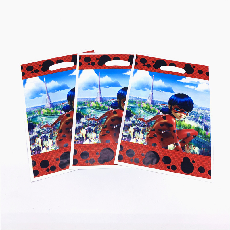 10Pcs Ladybug Theme Cartoon Design Kids Birthday Party Wedding Disposable Snack Candy Gift Bag Baby Shower Party Supplies