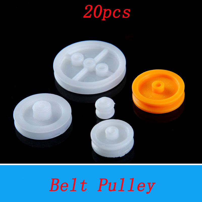 20pcs DIY Model Assembly Belt <font><b>Pulley</b></font> Dia 6/12/18/24mm Transmission Drive Gear Single Slot Motor Shaft Connector for Robot image