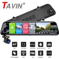 TAVIN 4G WIFI DVR Android 8.1 Camera 12 Inch 1080P Touch Screen Dash Cam Rearview Buletooth Mirror GPS Radar Detectora