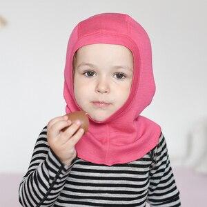 Image 1 - 100% צמר מרינו תינוק ילדים תרמית גרב רעול פנים כובע windproof כובע עבור 1 10 שנים
