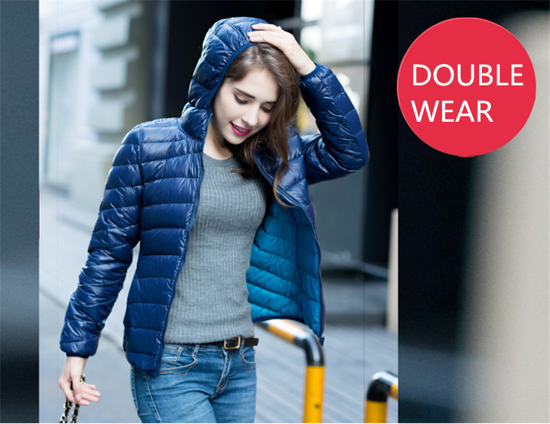 Jacket Down Women's 2020 Double Wear Winter Coat White Duck Down Jacket Slim Coats Casacos De Inverno Feminino WXF132 S