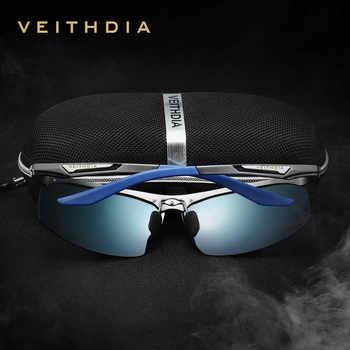 Veithdia Aluminum Magnesium Semi rimless Sunglasses Polarized Men Coating Mirror Driving Sun Glasses Eyewear Accessories shades
