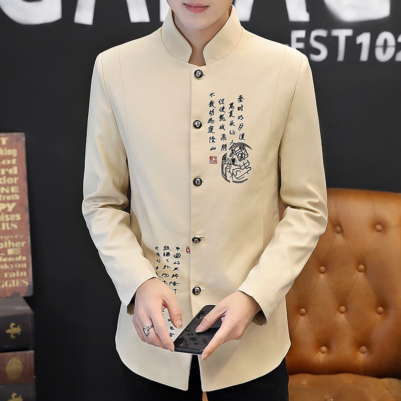2019 Autumn Wear The New Suit Men Characters Printed Suit Young Fashion Handsome Suit Collar Cultivate One's Morality