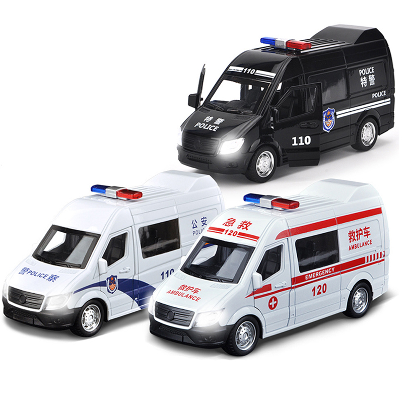 Sound Light Ambulance Police Car Model Pull Back Alloy Diecast DHL Ambulance Fire Vehicle Police Truck Toy for Boy Children Y177