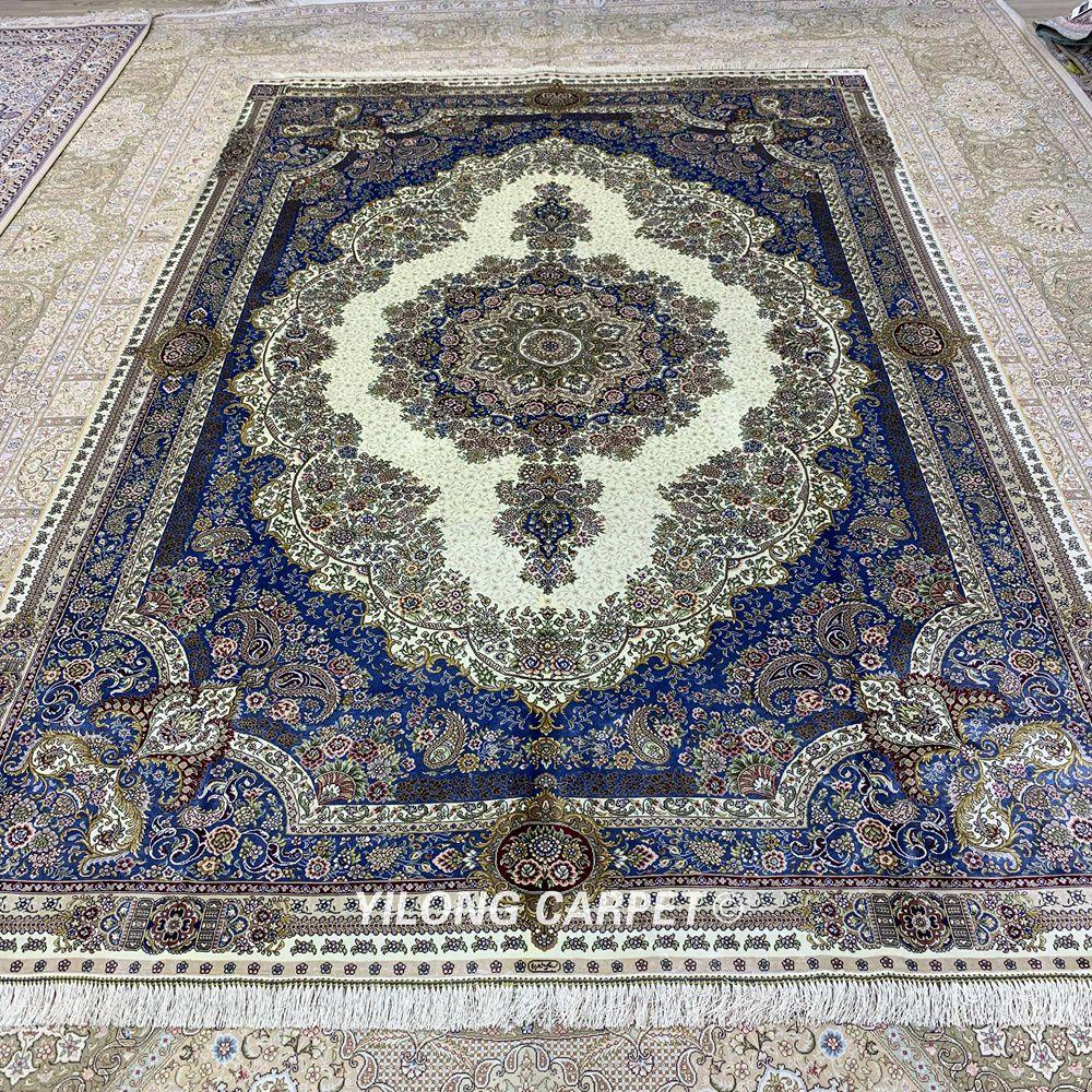 Yilong 6'x9 'karpet sutera Turki poket tradisional sutera tangan - Tekstil rumah - Foto 3