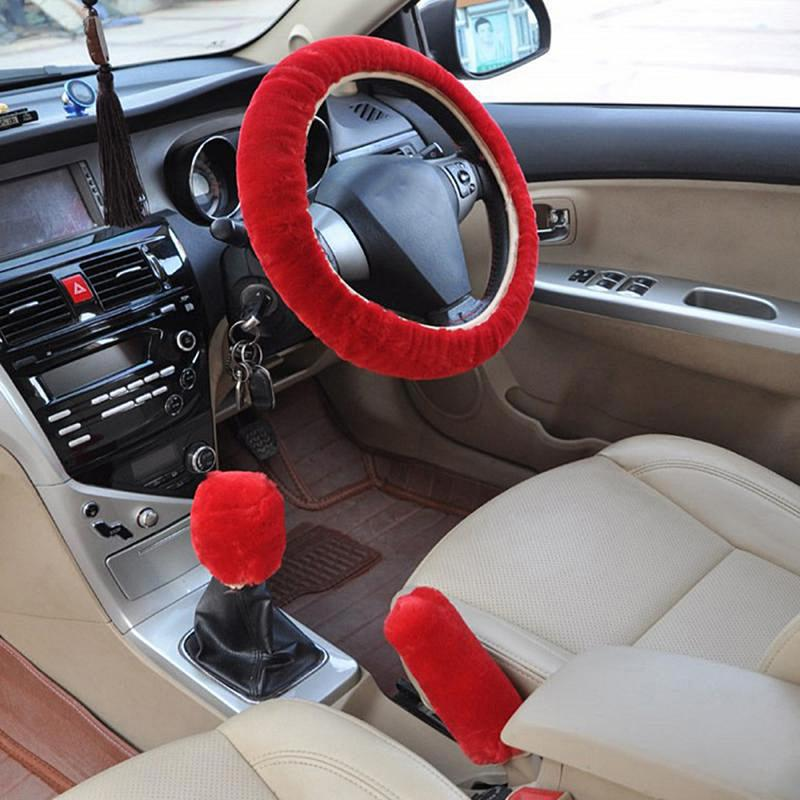 Steering-Wheel-Covers Car-Interior-Accessories Universal Winter Plush Hand-Brake Faux-Fur title=