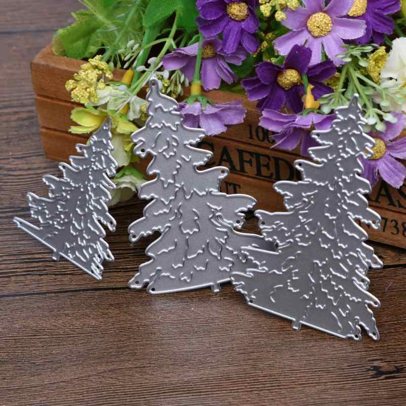 Hot Christmas Trees 3Pcs Metal Cutting Dies Xmas Stencil for Scrapbooking Die Cuts Stamping Cutting Embossing Template Craft